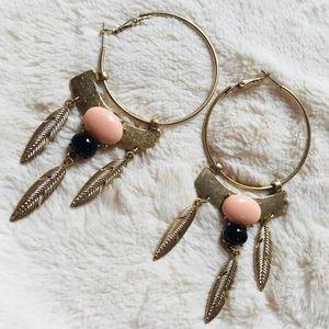 Hoop feather statement drop earrings